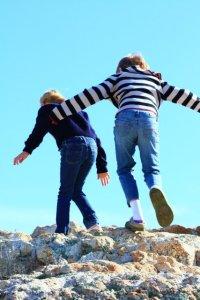 Girls Rock Climbing Antelope Island, Utah